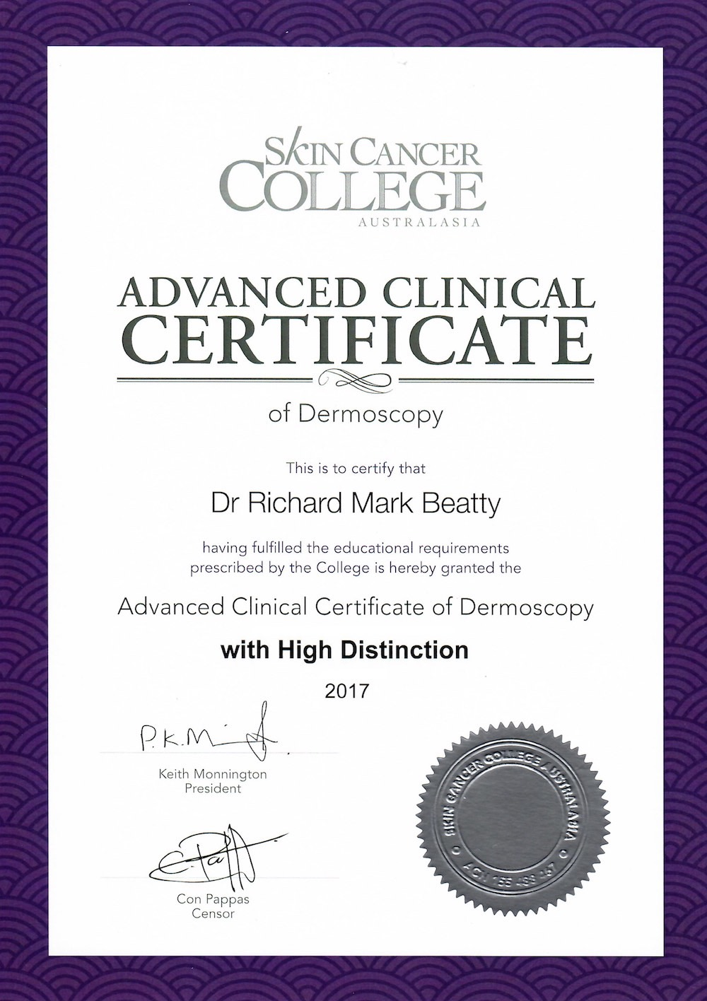 Advanced certificate dermoscopy with high distinction