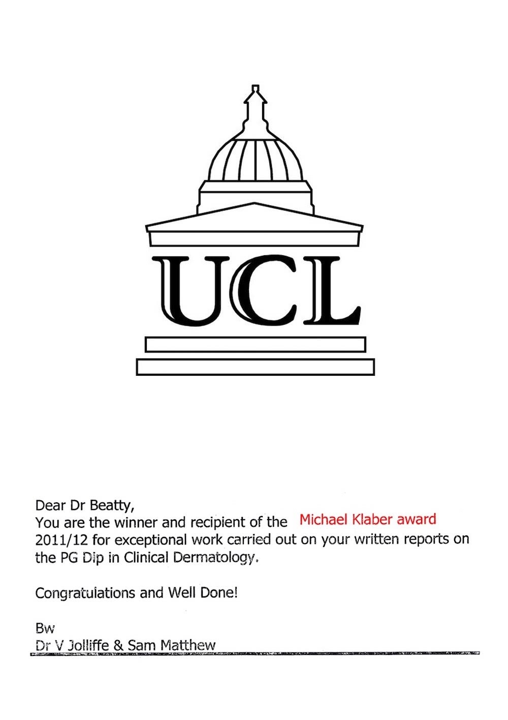 Michael Klaber Prize, university of london, dermatology diploma